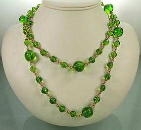 1980s Deanna Hamro Chartreuse Gripoix Glass Sautoir