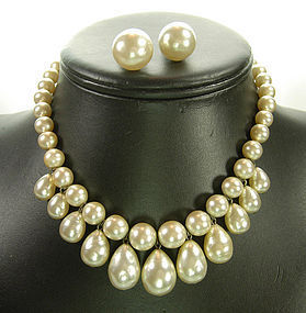 C 1960 Baroque Faux Pearl Necklace with Earrings FRANCE