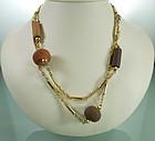 1970s Signed Cadoro Sautoir Terra Cotta Beads, Goldtone
