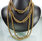 Two 1940s French Filigree Chain Strung 60 In. Sautoirs