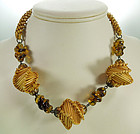Fun Adorable 70s Necklace: Raffia, French Glass Beads