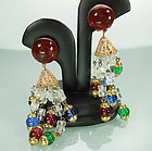 C 1960 Gripoix Poured Glass Wired Earrings Made France