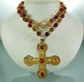 Dominique Aurientis Gripoix Glass Byzantine Necklace