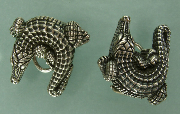 Barry Kieselstein-Cord Sterling Alligator Earrings