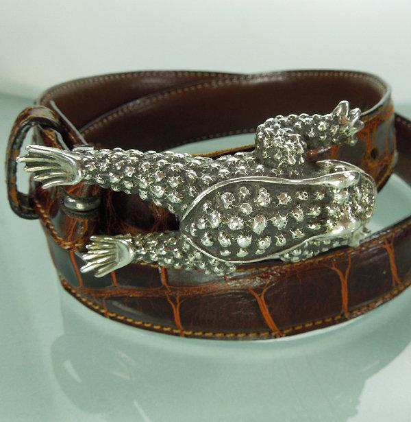 Kieselstein-Cord Sterling Toad Buckle on Alligator Belt