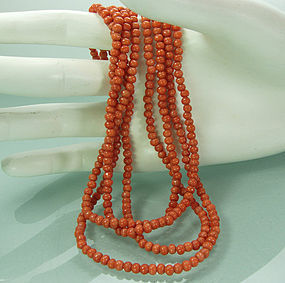 Dainty Art Deco Carved Coral 52 Inch Sautoir Necklace