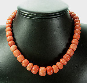 1930 Salmon Coral Large Graduated Carved Bead Necklace