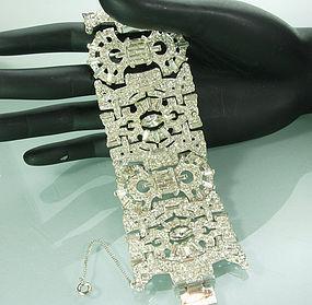 Huge Statement Late Art Deco Ledo 1940s Strass Bracelet