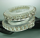 Set 2 C 1990 Huge French Couture Lucite Strass Bangles