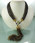 1960 French Black Glass Chains Wired Tassel Necklace