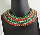Huge Egyptian Collar Red Green Enamel Turquoise Glass