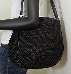 Bottega Veneta Nero Leather Straw Large Shoulder Bag