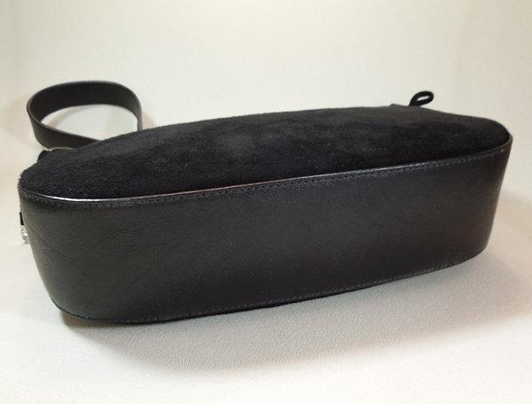 Ferragamo Black Suede Leather Gancio Small Bag Bows