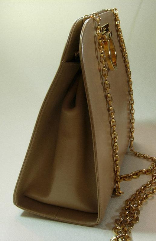 Ferragamo Light Tan Gancio Long Chain Strap Bag