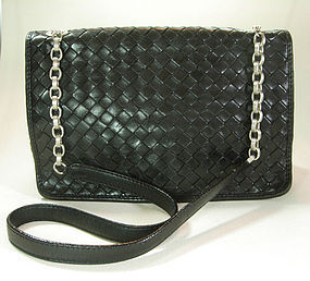 Bottega Veneta Nero Intrecciato Small Shoulder Bag