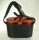 1940s Black Glass Caviar Beaded Tortoise Lucite Bag