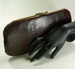 1960 Lesco Cognac Lizardskin Large Clutch Bag Chic
