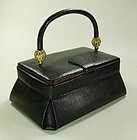 50s Black Lizardskin Diamante Small Bag Bienen Davis