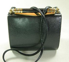 80s Rodo Italy Navy Lizardskin Box Clutch Shoulder Bag