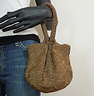 1940s Large Bronze Glass Micro Bead Pochette Bag Purse