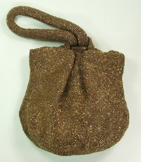 1940s Large Bronze Glass Micro Bead Pochette Bag Purse