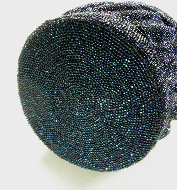 1940s Large Iridescent Blue Glass Micro Bead Box Bag
