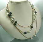 Sautoir Pearls Turquoise Glass Green Blue Stones 62 In.