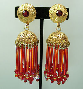 Huge Runway 80s Pink Orange Glass Moghul Style Earrings