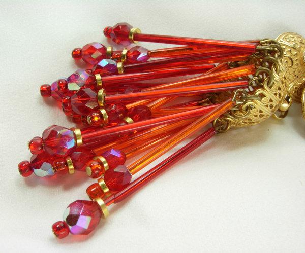 Huge Runway 80s Pink Orange Glass Moghul Style Earrings
