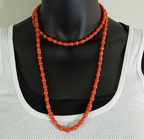1950 Carved Salmon Mediterranean Coral 41 Inch Necklace