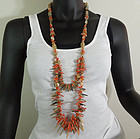 1970s Mediterranean Coral Branch Shell Huge Necklace