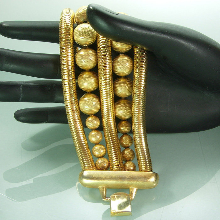 1980s Huge Snake Chain Bead Robert Lee Morris Bracelet