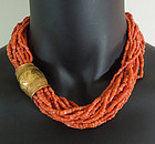 16 Strnd Mediterranean Salmon Coral Gilt Metal Necklace