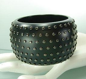 Huge Statement Black Resin Gunmetal Studded Bracelet
