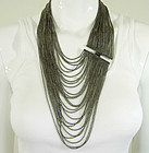 1980s Couture Gunmetal Multi Strand Necklace 8 In. Drop