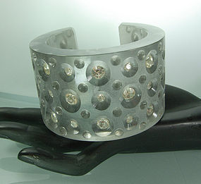 1980s Huge Couture Lucite Strass Gray Cuff Bracelet