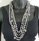 3 1960s Sautoirs Strass Gray Pearls Rondelles Chains