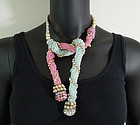 60s French Pink Blue Glass Strass Pearl Lariat Necklace