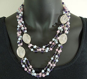 1970s Les Bernard 41 Inch Wired Glass Lucite Necklace