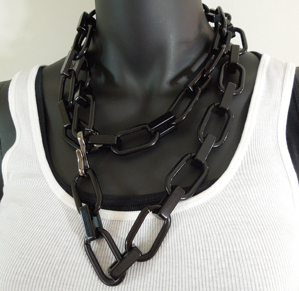 Ben-Amun C 1990 Black Resin 48 Inch Runway Necklace