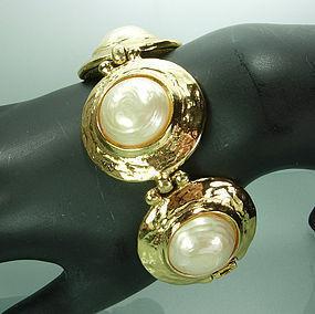 1980 Yves Saint Laurent Goossens Huge Pearl Bracelet