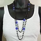 40s Blue Black Poured Glass Wired 58 In. French Sautoir