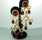 80s French Red Poured Glass Girandole Long Earrings
