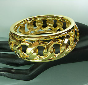 1980s Huge Heavy Statement Edgy Chain Form Bangle