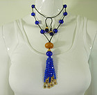 1990 Deanna Hamro Blue Gripoix Glass Goldtone Necklace