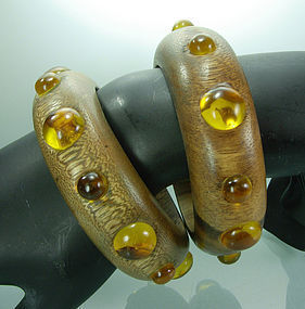 80s KJL Kenneth Lane Wood Faux Amber Cab Bangle Pair