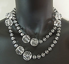70s Glass and Clear Lucite Chunky Long Sautoir Necklace