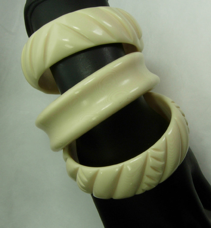 Set 3 1980s Faux Ivory Lucite Tribal Bangle Bracelets