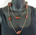 1960s Freeform Red Green Agate Long Sautoir Necklace