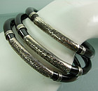 Set of 3 Early Chinese Reed Rattan Silver Bracelets